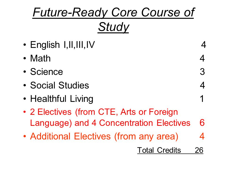 Future-Ready Core Course of Study English I,II,III,IV 4 Math 4 Science 3 Social Studies 4 Healthful Living 1 2 Electives (from CTE, Arts or Foreign Language) and 4 Concentration Electives 6 Additional Electives (from any area) 4 Total Credits 26