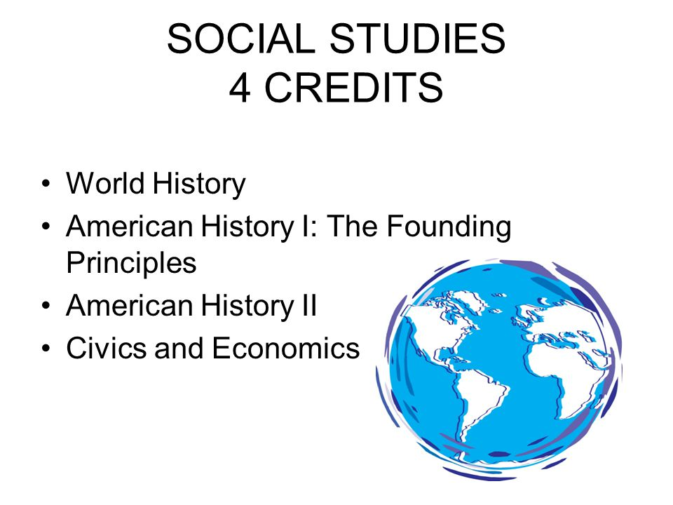 SOCIAL STUDIES 4 CREDITS World History American History I: The Founding Principles American History II Civics and Economics