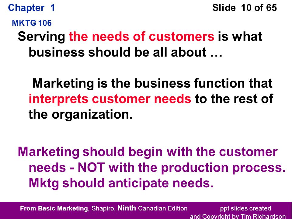 From Basic Marketing, Shapiro, Ninth Canadian Edition ppt slides created and Copyright by Tim Richardson Chapter 1 MKTG 106 Slide 10 of 65 Serving the needs of customers is what business should be all about … Marketing is the business function that interprets customer needs to the rest of the organization.