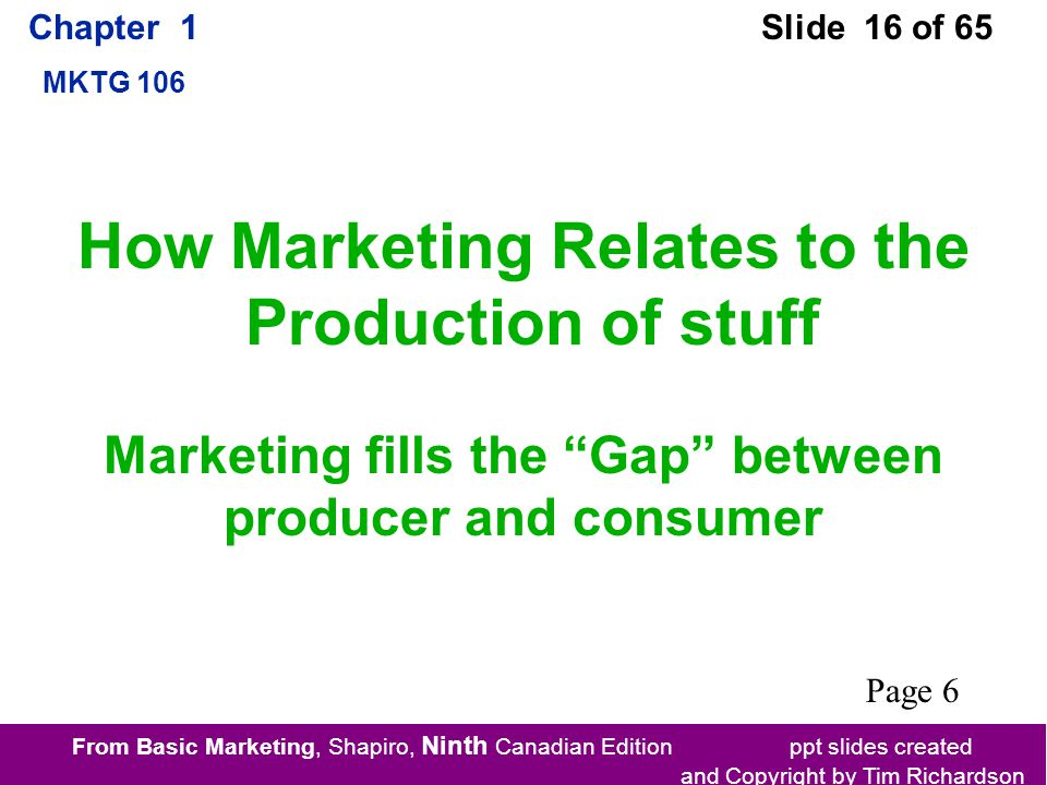 From Basic Marketing, Shapiro, Ninth Canadian Edition ppt slides created and Copyright by Tim Richardson Chapter 1 MKTG 106 Slide 16 of 65 How Marketing Relates to the Production of stuff Marketing fills the Gap between producer and consumer Page 6