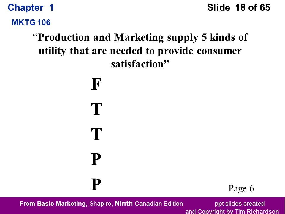 From Basic Marketing, Shapiro, Ninth Canadian Edition ppt slides created and Copyright by Tim Richardson Chapter 1 MKTG 106 Slide 18 of 65 FTTPPFTTPP Production and Marketing supply 5 kinds of utility that are needed to provide consumer satisfaction Page 6