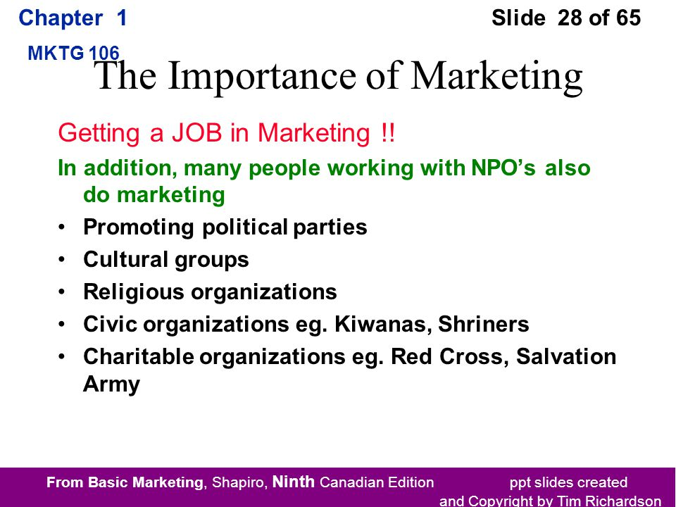 From Basic Marketing, Shapiro, Ninth Canadian Edition ppt slides created and Copyright by Tim Richardson Chapter 1 MKTG 106 Slide 28 of 65 The Importance of Marketing Getting a JOB in Marketing !.