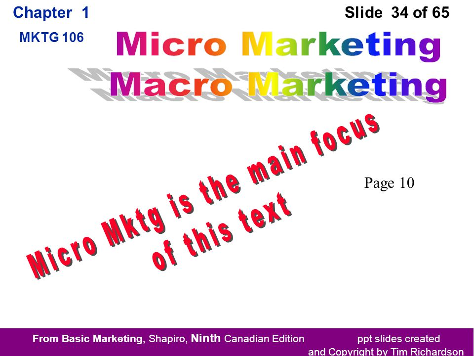 From Basic Marketing, Shapiro, Ninth Canadian Edition ppt slides created and Copyright by Tim Richardson Chapter 1 MKTG 106 Slide 34 of 65 Page 10