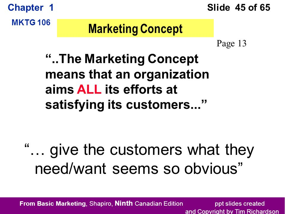 From Basic Marketing, Shapiro, Ninth Canadian Edition ppt slides created and Copyright by Tim Richardson Chapter 1 MKTG 106 Slide 45 of 65 ..The Marketing Concept means that an organization aims ALL its efforts at satisfying its customers... Marketing Concept Page 13 … give the customers what they need/want seems so obvious