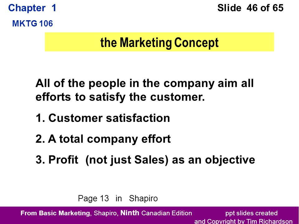 From Basic Marketing, Shapiro, Ninth Canadian Edition ppt slides created and Copyright by Tim Richardson Chapter 1 MKTG 106 Slide 46 of 65 All of the people in the company aim all efforts to satisfy the customer.