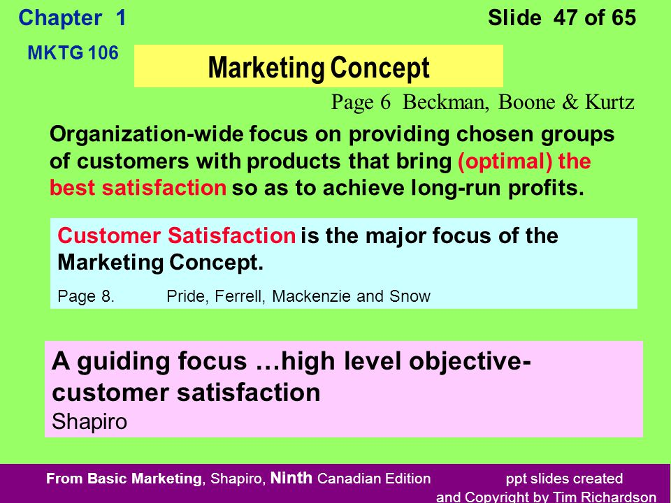 From Basic Marketing, Shapiro, Ninth Canadian Edition ppt slides created and Copyright by Tim Richardson Chapter 1 MKTG 106 Slide 47 of 65 Organization-wide focus on providing chosen groups of customers with products that bring (optimal) the best satisfaction so as to achieve long-run profits.