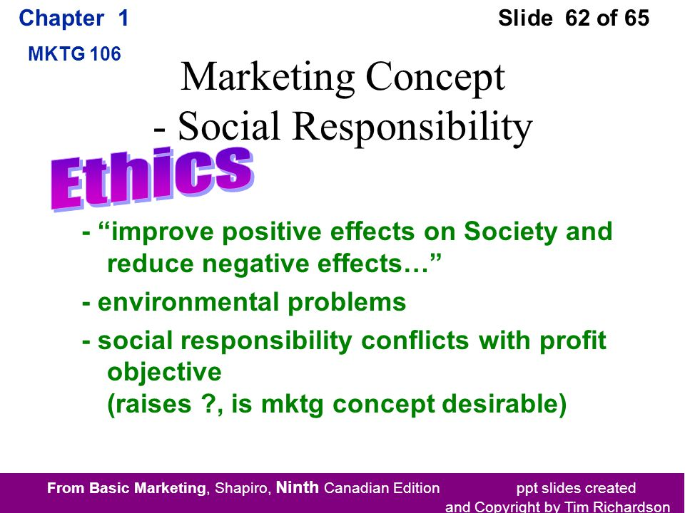 From Basic Marketing, Shapiro, Ninth Canadian Edition ppt slides created and Copyright by Tim Richardson Chapter 1 MKTG 106 Slide 62 of 65 Marketing Concept - Social Responsibility - improve positive effects on Society and reduce negative effects… - environmental problems - social responsibility conflicts with profit objective (raises , is mktg concept desirable)