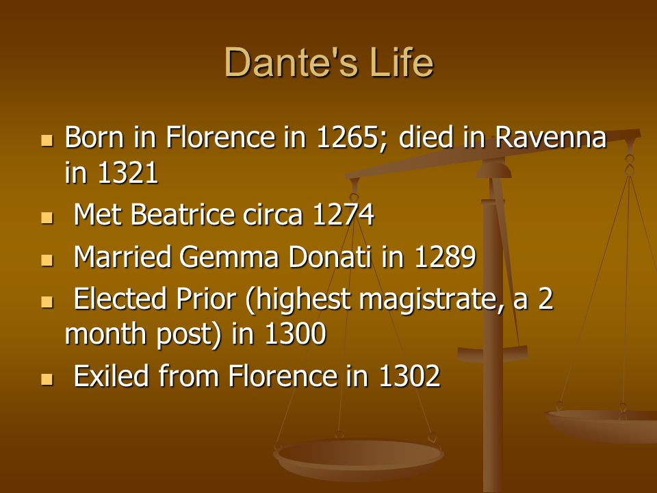 Dante's Life Born in Florence in 1265; died in Ravenna in 1321 Born in Florence in 1265; died in Ravenna in 1321 Met Beatrice circa 1274 Met Beatrice