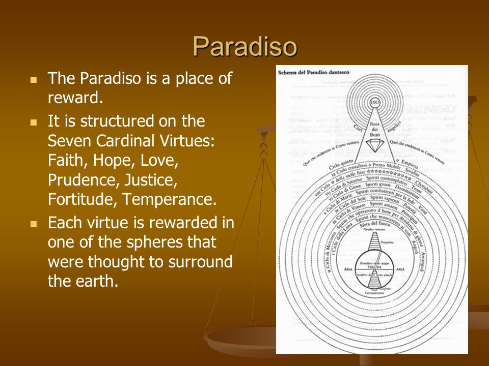 Paradiso The Paradiso is a place of reward. It is structured on the Seven Cardinal Virtues: Faith, Hope, Love, Prudence, Justice, Fortitude, Temperanc