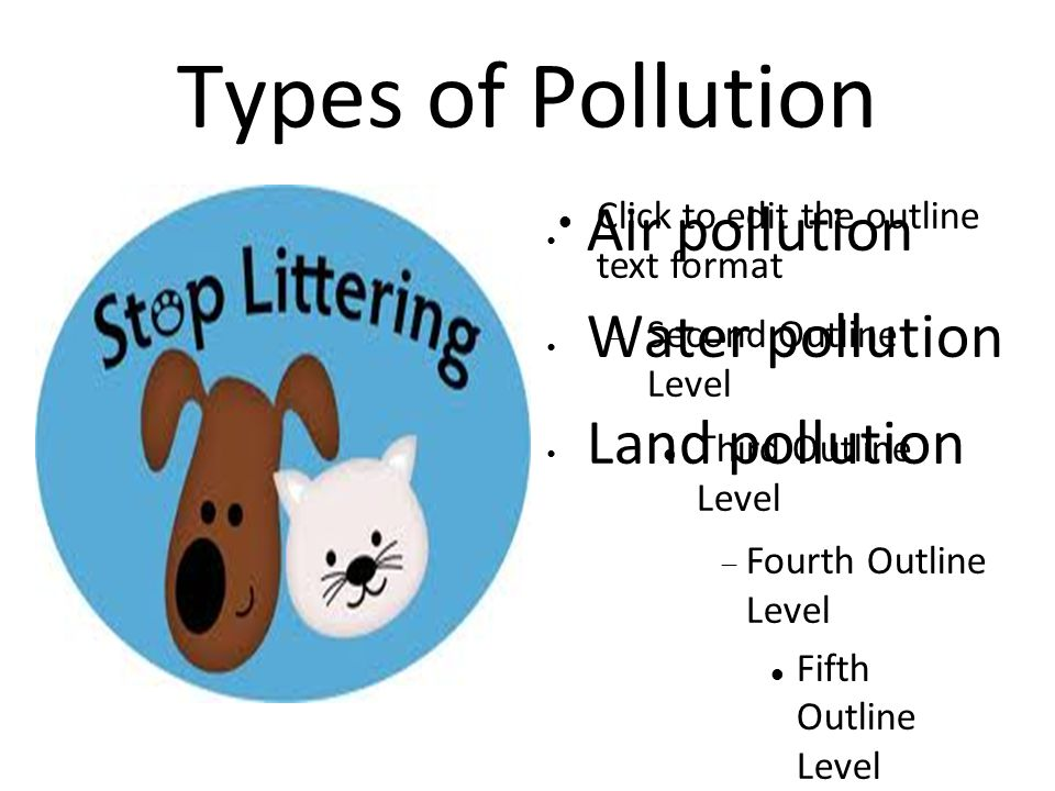 Click to edit the outline text format  Second Outline Level Third Outline Level  Fourth Outline Level Fifth Outline Level Sixth Outline Level Seventh Outline Level Eighth Outline Level Ninth Outline LevelClick to edit Master text styles – Second level Third level – Fourth level » Fifth level Types of Pollution Air pollution Water pollution Land pollution
