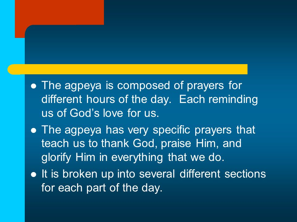 Prime (the Morning Prayer) The prime is the very first prayer of the agpeya.