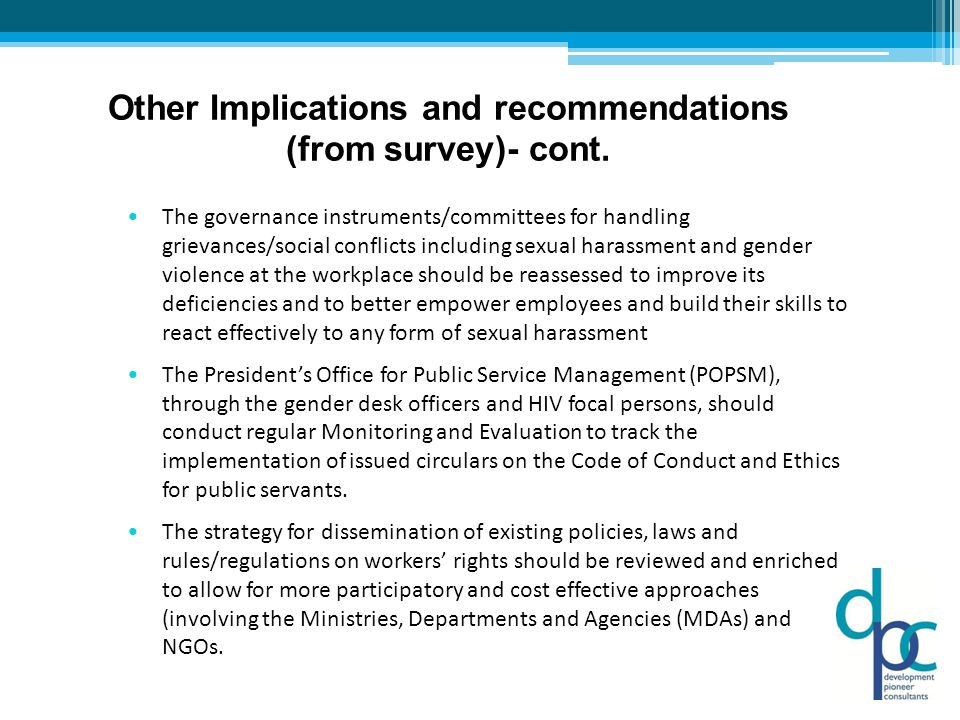 Other Implications and recommendations (from survey)- cont.