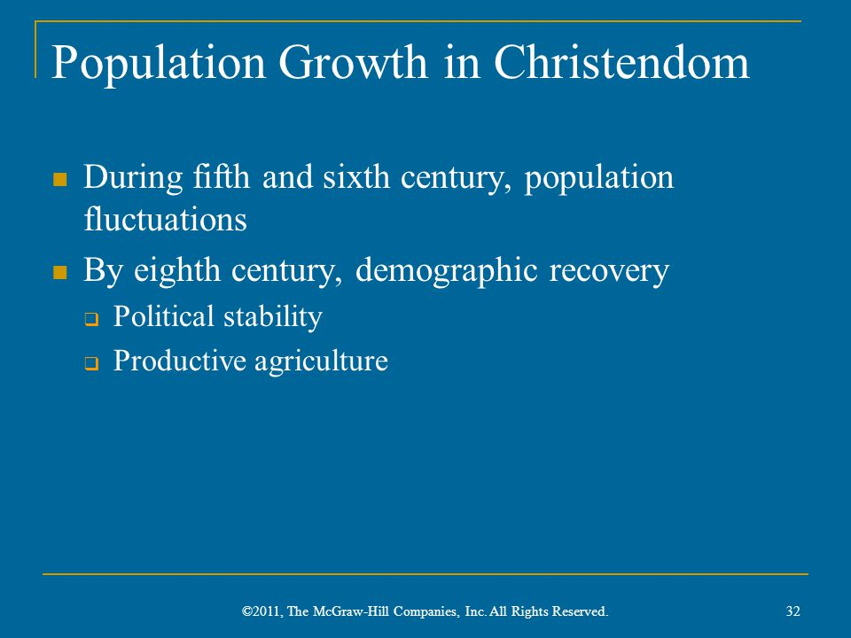 Population Growth in Christendom During fifth and sixth century, population fluctuations By eighth century, demographic recovery  Political stability  Productive agriculture 32 ©2011, The McGraw-Hill Companies, Inc.