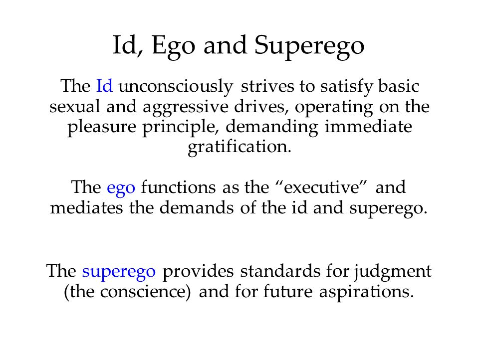 Id, Ego and Superego The Id unconsciously strives to satisfy basic sexual and aggressive drives, operating on the pleasure principle, demanding immediate gratification.