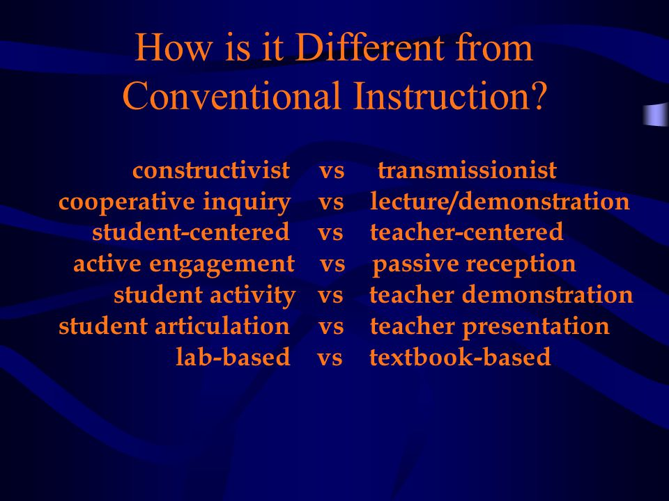 How is it Different from Conventional Instruction.