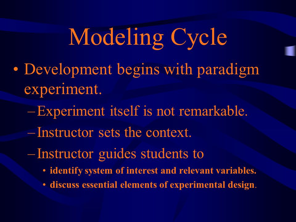Modeling Cycle Development begins with paradigm experiment.