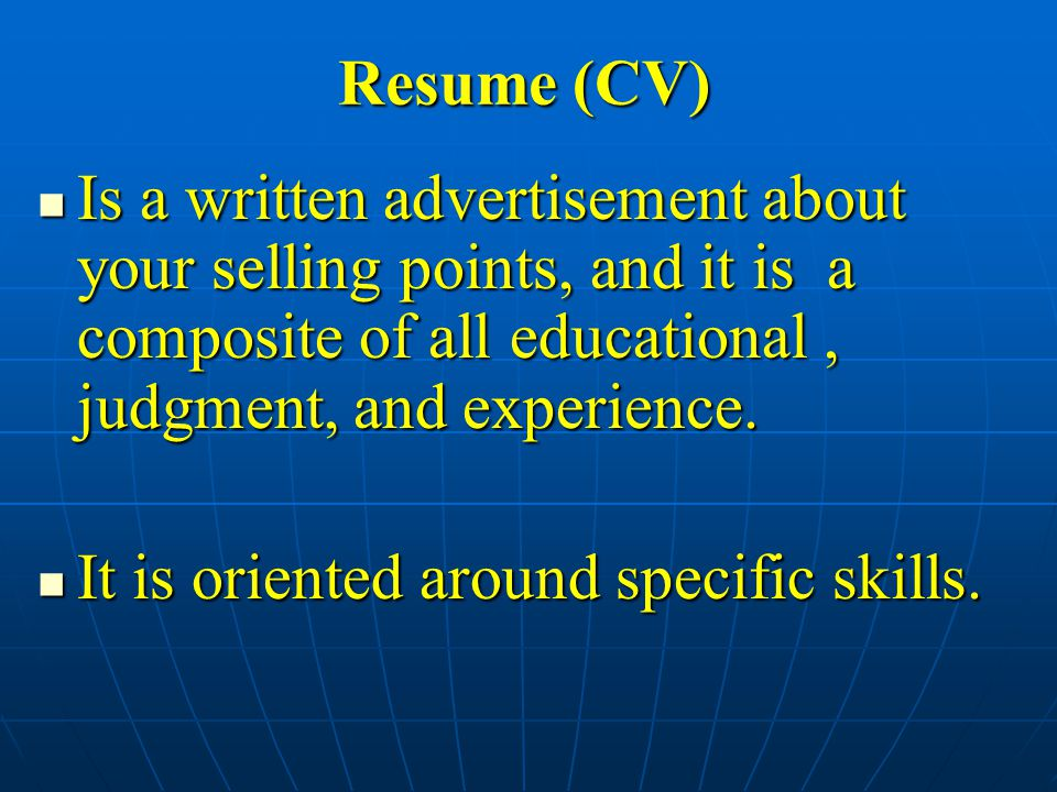 Is a written advertisement about your selling points, and it is a composite of all educational, judgment, and experience.