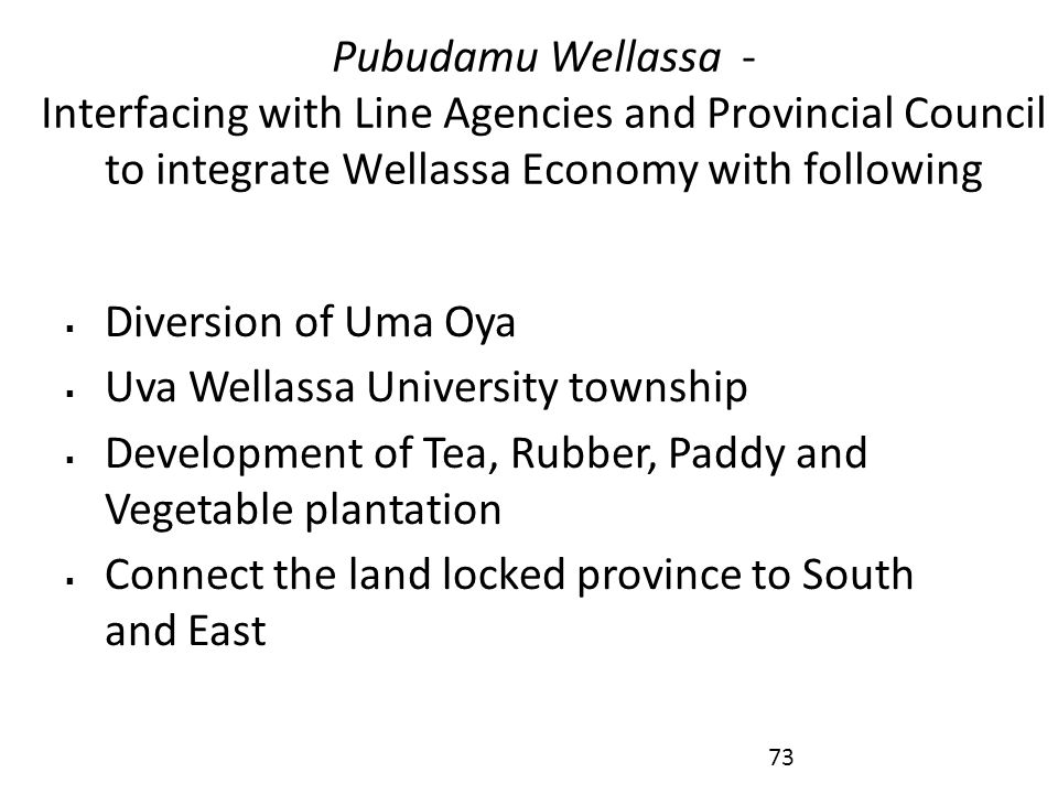 Pubudamu Wellassa - Interfacing with Line Agencies and Provincial Council to integrate Wellassa Economy with following  Diversion of Uma Oya  Uva Wellassa University township  Development of Tea, Rubber, Paddy and Vegetable plantation  Connect the land locked province to South and East 73