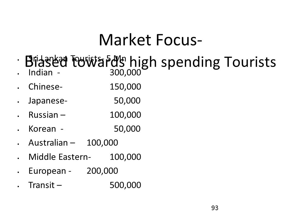 Market Focus- B iased towards high spending Tourists  Sri Lankan Tourists- 5 Mn  Indian - 300,000  Chinese- 150,000  Japanese- 50,000  Russian – 100,000  Korean - 50,000  Australian – 100,000  Middle Eastern-100,000  European - 200,000  Transit – 500,000 93