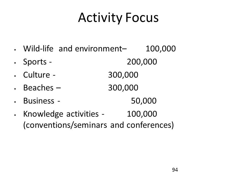Activity Focus  Wild-life and environment– 100,000  Sports - 200,000  Culture - 300,000  Beaches – 300,000  Business - 50,000  Knowledge activities -100,000 (conventions/seminars and conferences) 94
