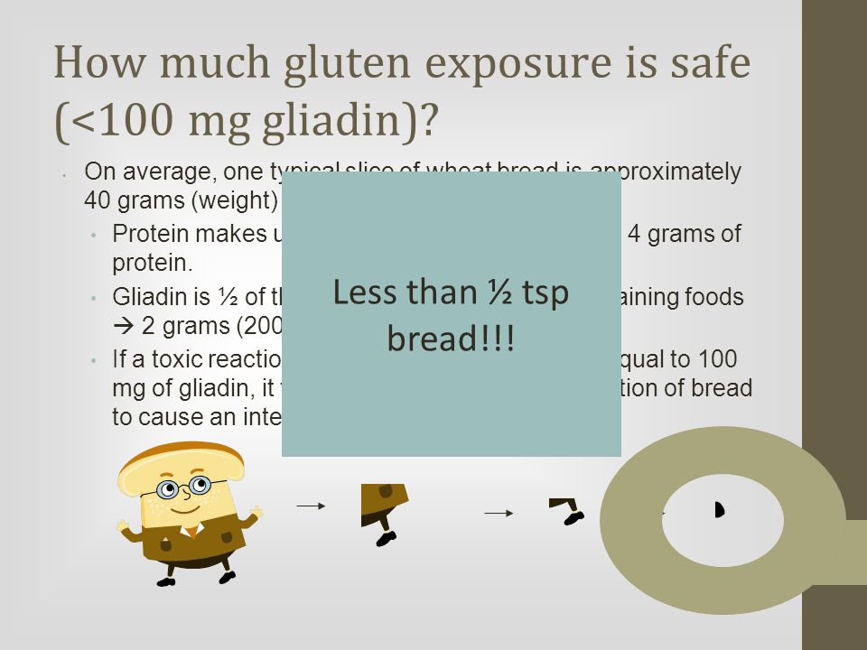 How much gluten exposure is safe (<100 mg gliadin).