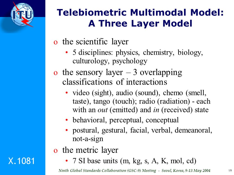 Ninth Global Standards Collaboration (GSC-9) Meeting - Seoul, Korea, 9-13 May 2004 19 Telebiometric Multimodal Model: A Three Layer Model o the scient