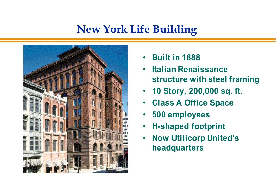 New York Life Building Project Scenario Building idle for 5 years Severe water damage led to : –Plaster falling –Wood floors buckling –Roof leaking –Structure inhabited by nothing more than pigeons