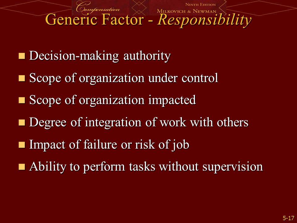 5-17 Generic Factor - Responsibility Decision-making authority Decision-making authority Scope of organization under control Scope of organization und