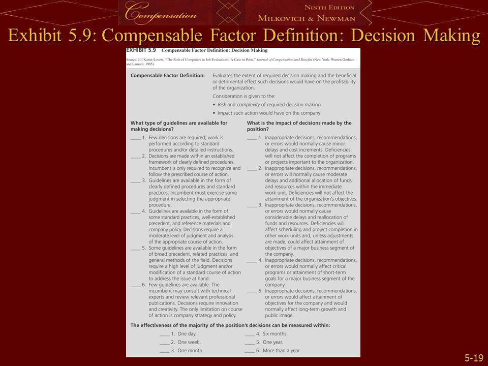 5-19 Exhibit 5.9: Compensable Factor Definition: Decision Making