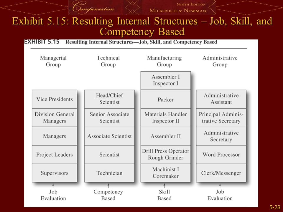 5-28 Exhibit 5.15: Resulting Internal Structures – Job, Skill, and Competency Based