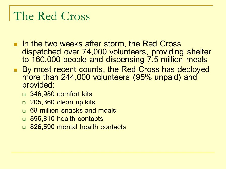 The Red Cross In the two weeks after storm, the Red Cross dispatched over 74,000 volunteers, providing shelter to 160,000 people and dispensing 7.5 million meals By most recent counts, the Red Cross has deployed more than 244,000 volunteers (95% unpaid) and provided:  346,980 comfort kits  205,360 clean up kits  68 million snacks and meals  596,810 health contacts  826,590 mental health contacts