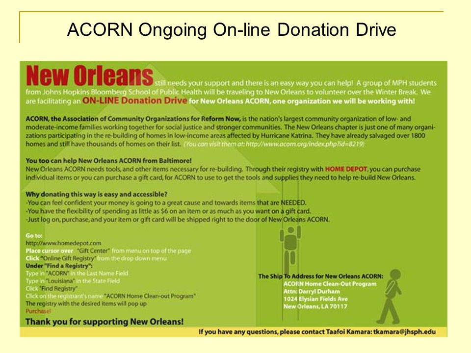 ACORN Ongoing On-line Donation Drive