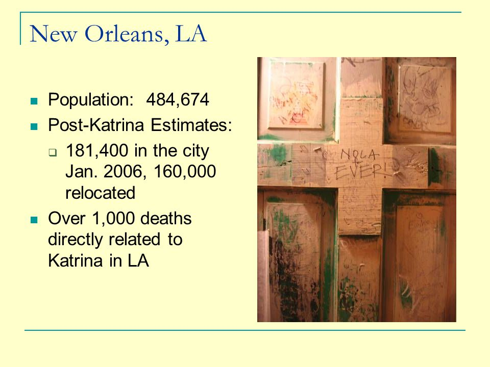 New Orleans, LA Population: 484,674 Post-Katrina Estimates:  181,400 in the city Jan.