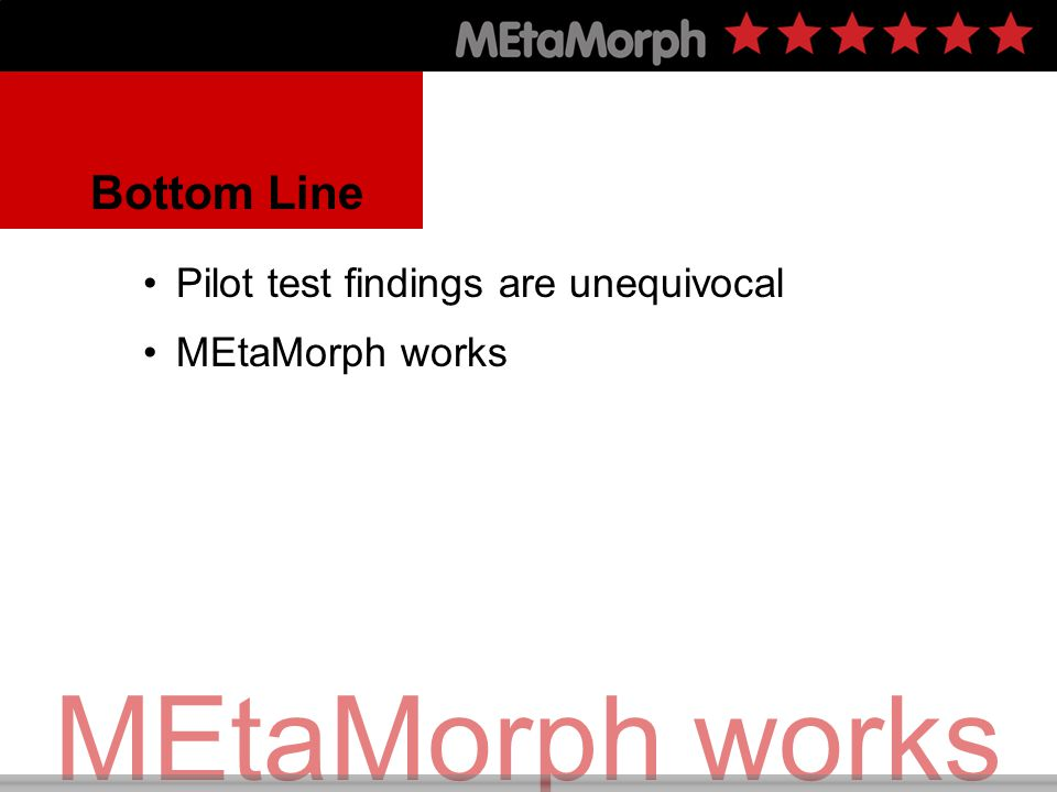 Pilot Test Results MEtaMorph was effective Across student achievement levels For female and male students Across all socio-economic levels In diverse