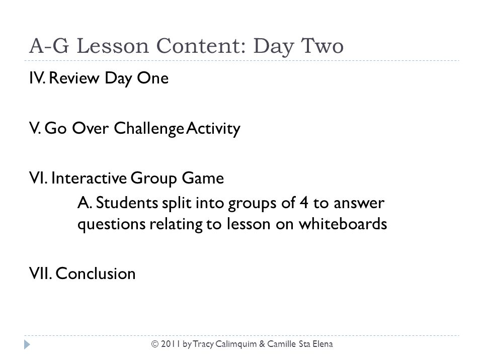 A-G Lesson Content: Day Two IV. Review Day One V. Go Over Challenge Activity VI. Interactive Group Game A. Students split into groups of 4 to answer q