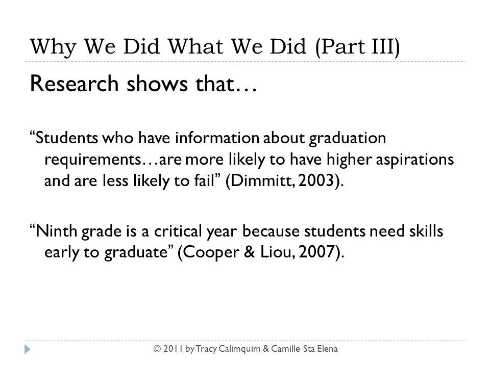 "Why We Did What We Did (Part III) Research shows that… ""Students who have information about graduation requirements…are more likely to have higher asp"