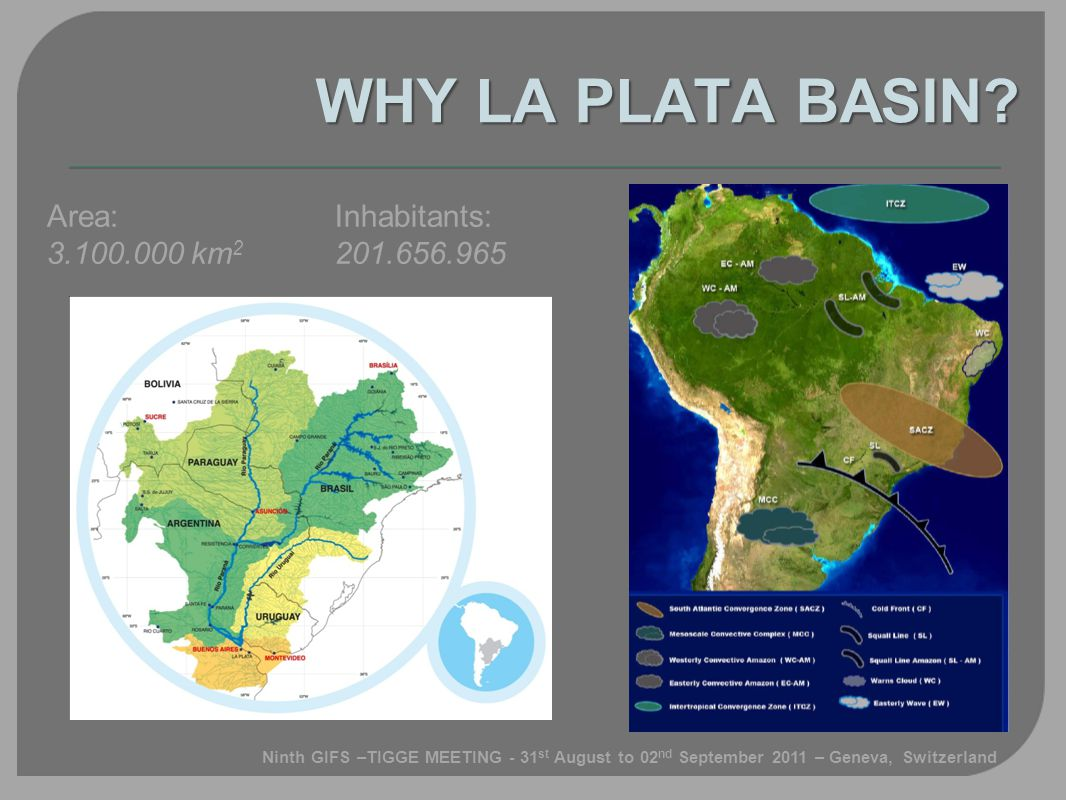 Area: 3.100.000 km 2 Inhabitants: 201.656.965 WHY LA PLATA BASIN.