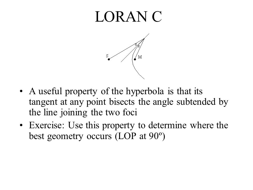 LORAN C Receivers Problems to be solved by receiver Signals strength may vary by 120dB Large dynamic range required Noise at LF can be very high due to long range propagation of interference (e.g.
