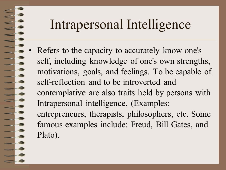 Intrapersonal Intelligence Refers to the capacity to accurately know one s self, including knowledge of one s own strengths, motivations, goals, and feelings.