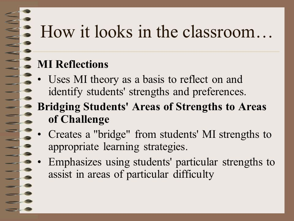 How it looks in the classroom… MI Reflections Uses MI theory as a basis to reflect on and identify students strengths and preferences.