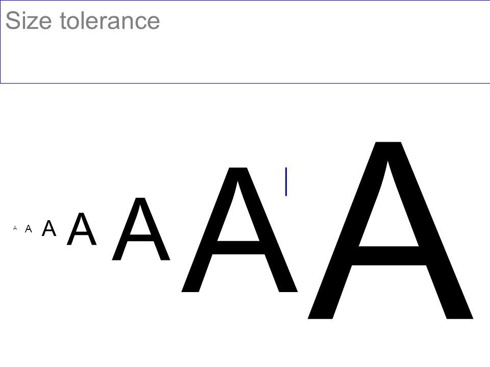 Size tolerance x A A A A A A A
