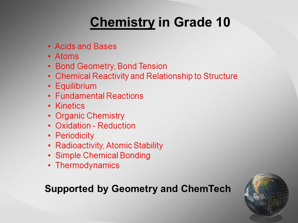 Chemistry in Grade 10 Acids and Bases Atoms Bond Geometry, Bond Tension Chemical Reactivity and Relationship to Structure Equilibrium Fundamental Reac