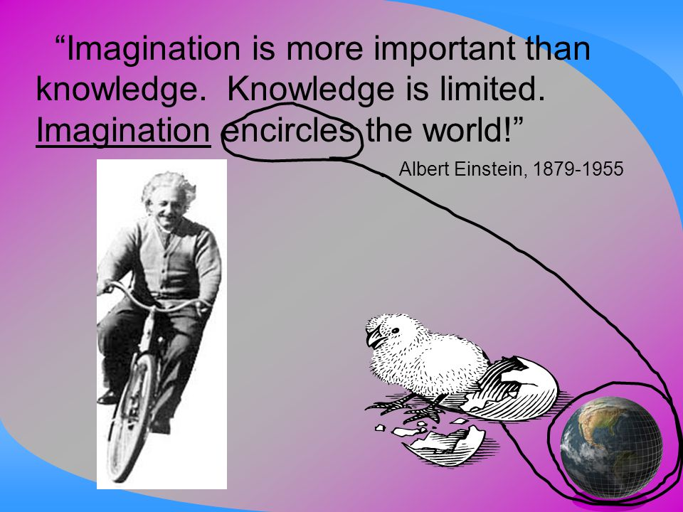 """Imagination is more important than knowledge. Knowledge is limited. Imagination encircles the world!"" Albert Einstein, 1879-1955"