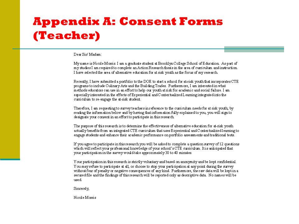 Appendix A: Consent Forms (Teacher)
