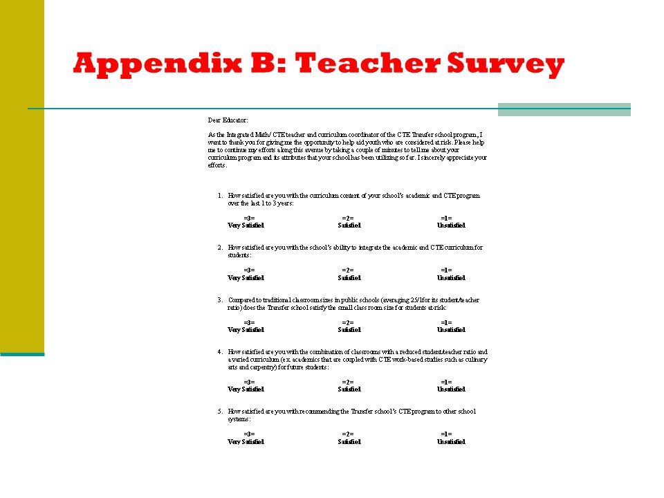 Appendix B: Teacher Survey