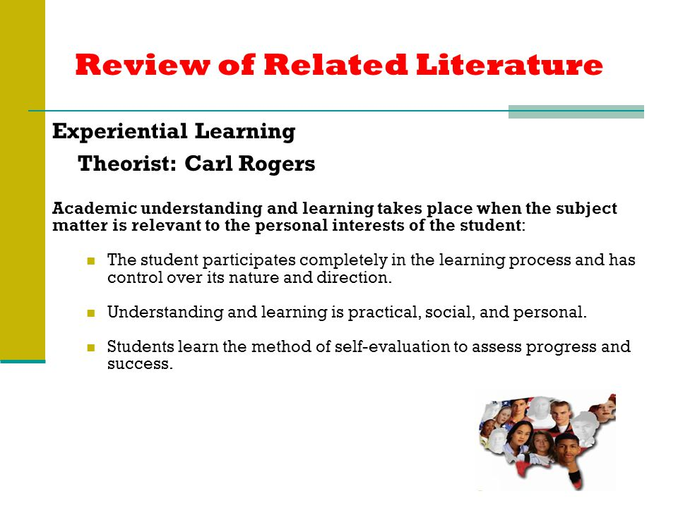 Review of Related Literature Experiential Learning Theorist: Carl Rogers Academic understanding and learning takes place when the subject matter is relevant to the personal interests of the student: The student participates completely in the learning process and has control over its nature and direction.