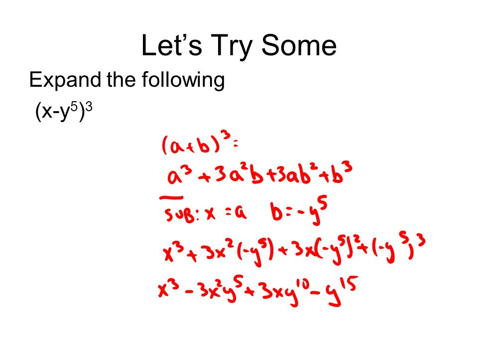 Let's Try Some Expand the following (x-y 5 ) 3