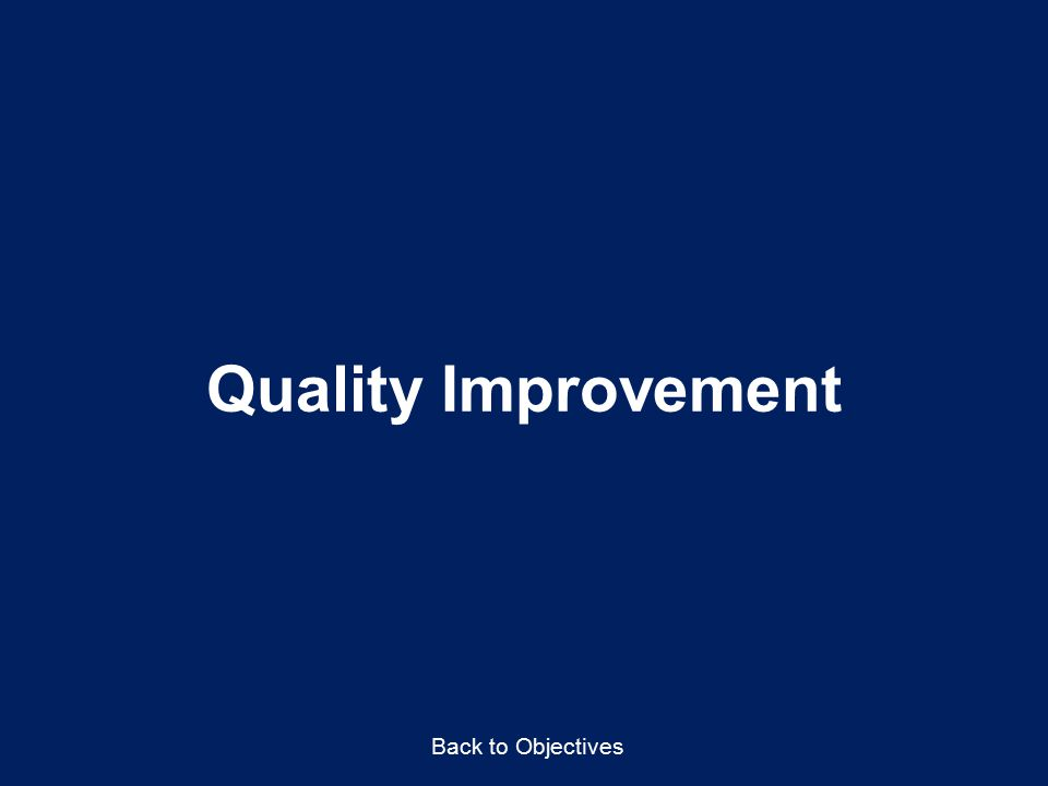 Quality Improvement Back to Objectives