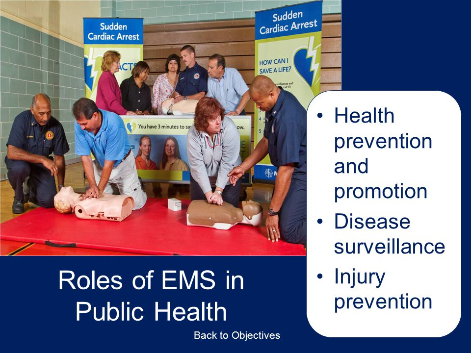 Roles of EMS in Public Health Healthpreventionandpromotion Diseasesurveillance Injuryprevention Back to Objectives