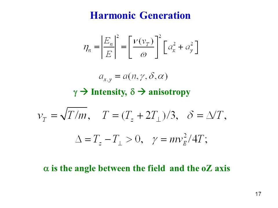 17 Harmonic Generation   Intensity,   anisotropy  is the angle between the field and the oZ axis